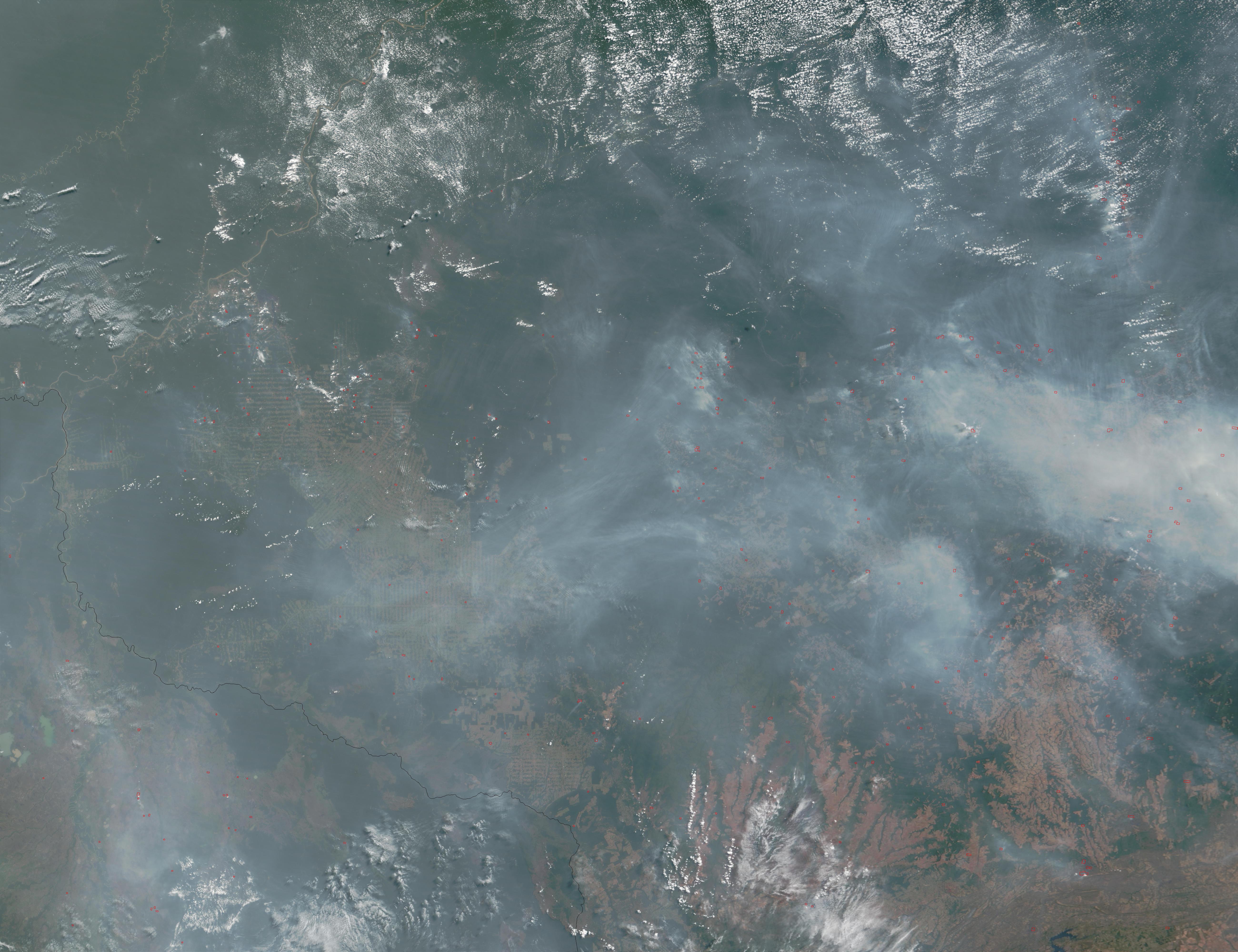 Incendios y humo en Mato Grosso y Rondonia, Brasil