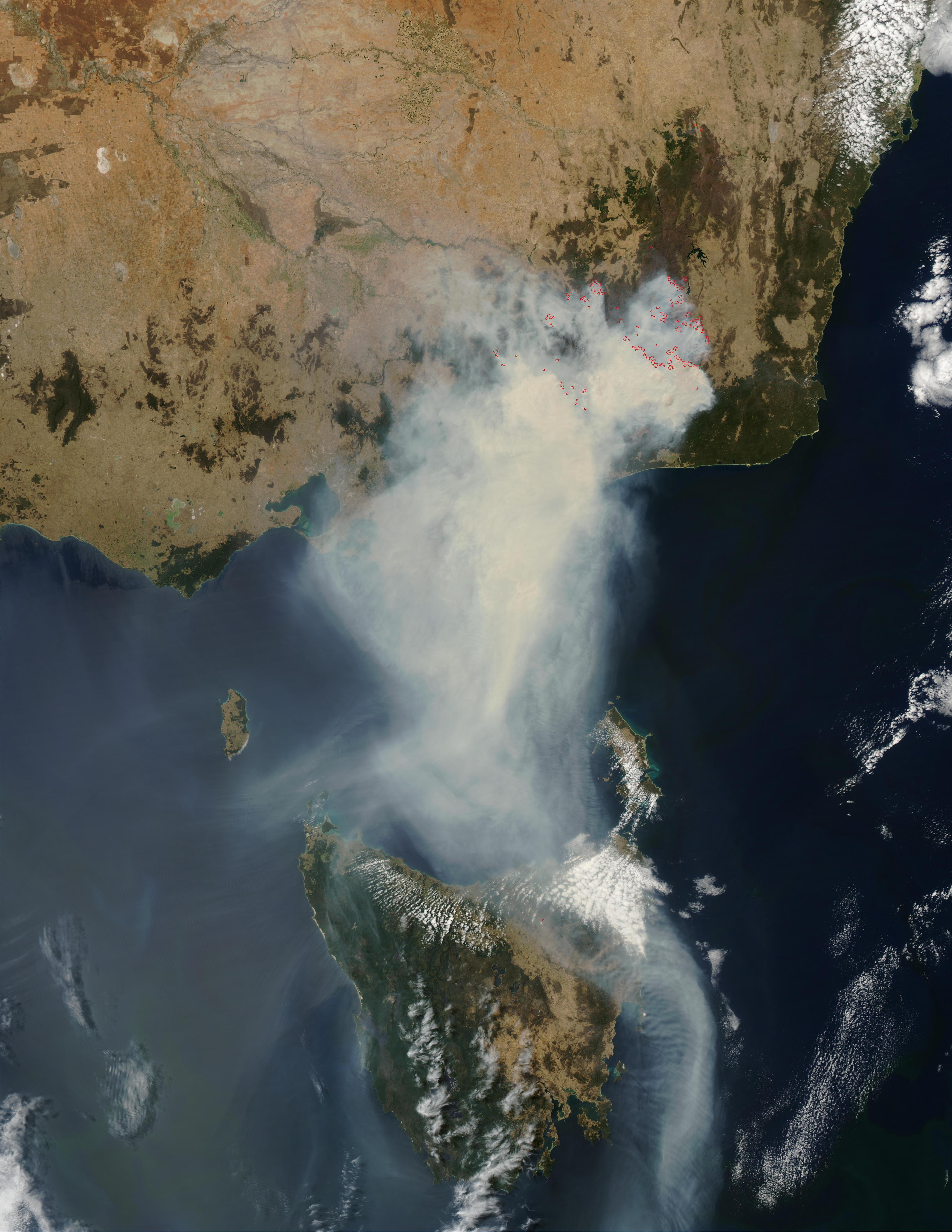 Incendios y humo en el sureste de Australia (seguimiento satelital de la tarde)