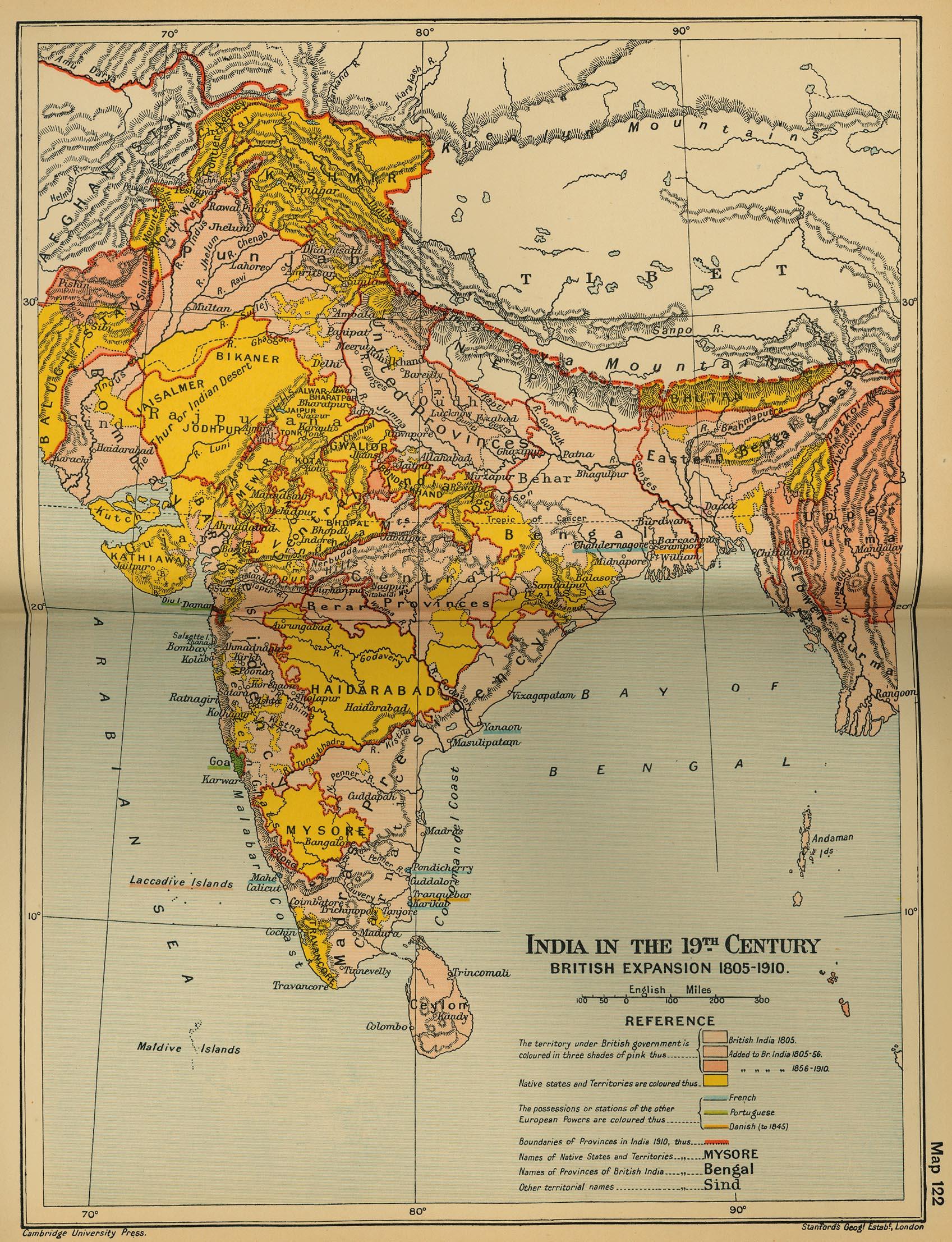 India en el siglo XIX, expansión británica 1805-1910