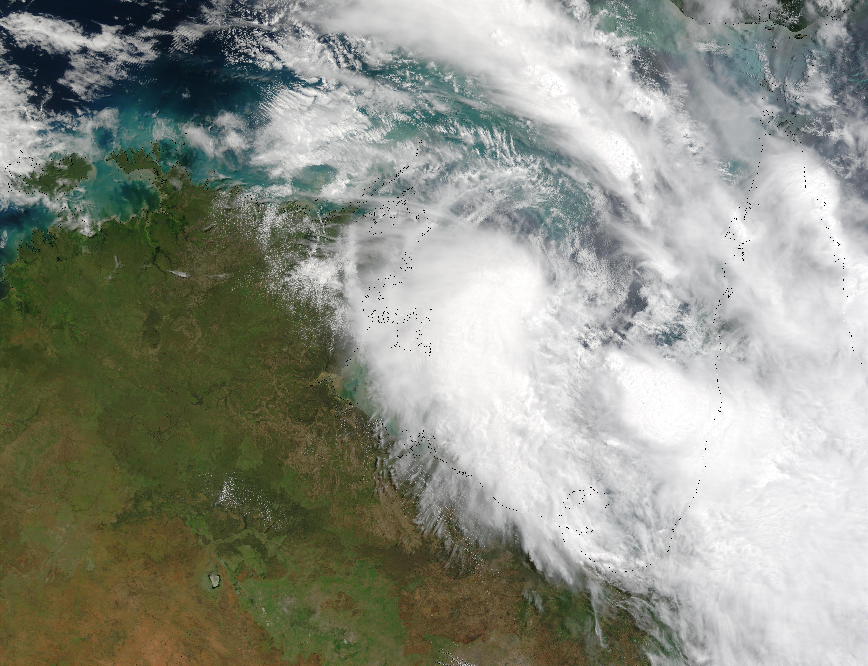 Inundaciones detrás del ciclón tropical Craig (24S) en el norte de Australia