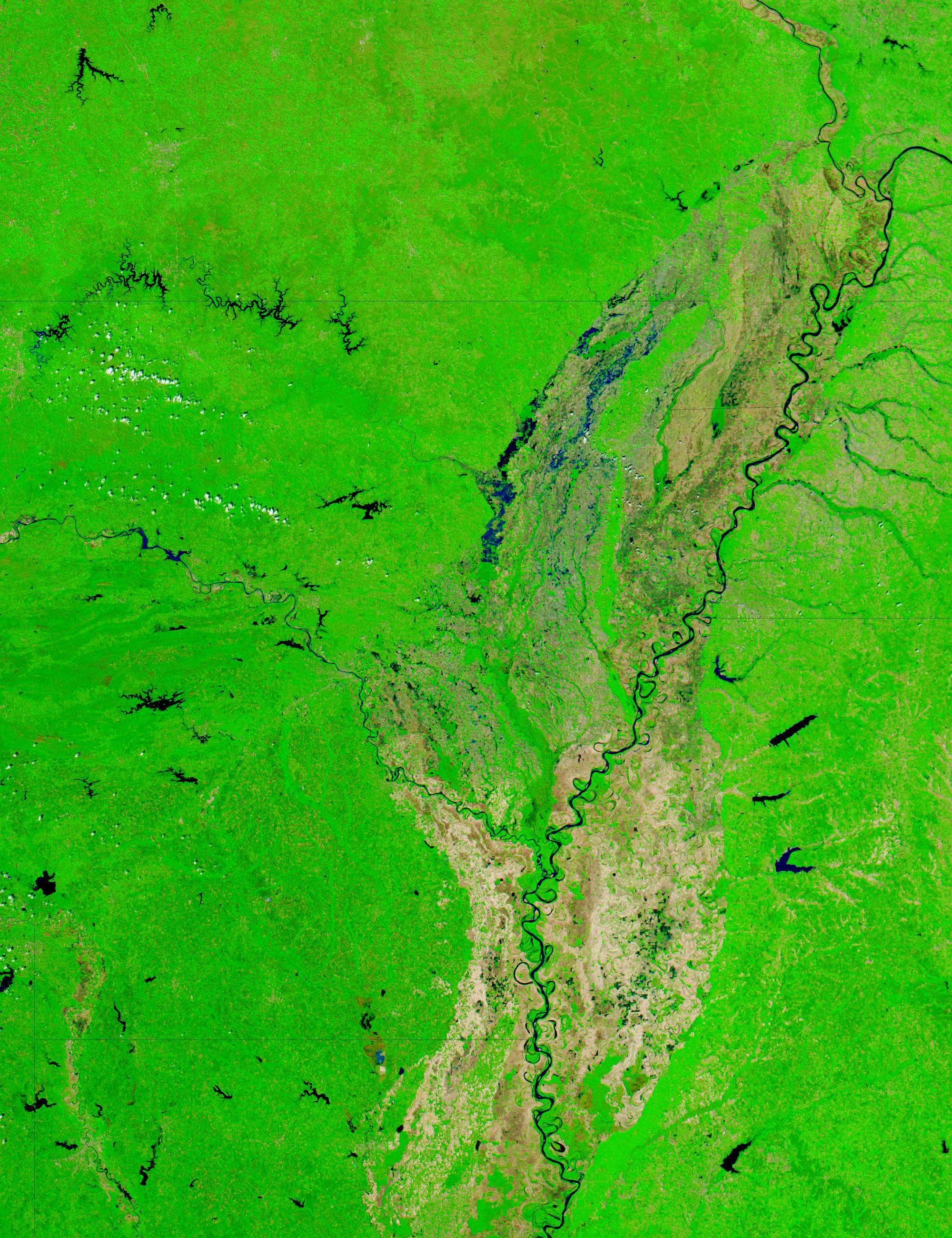Floods in Arkansas (false color)