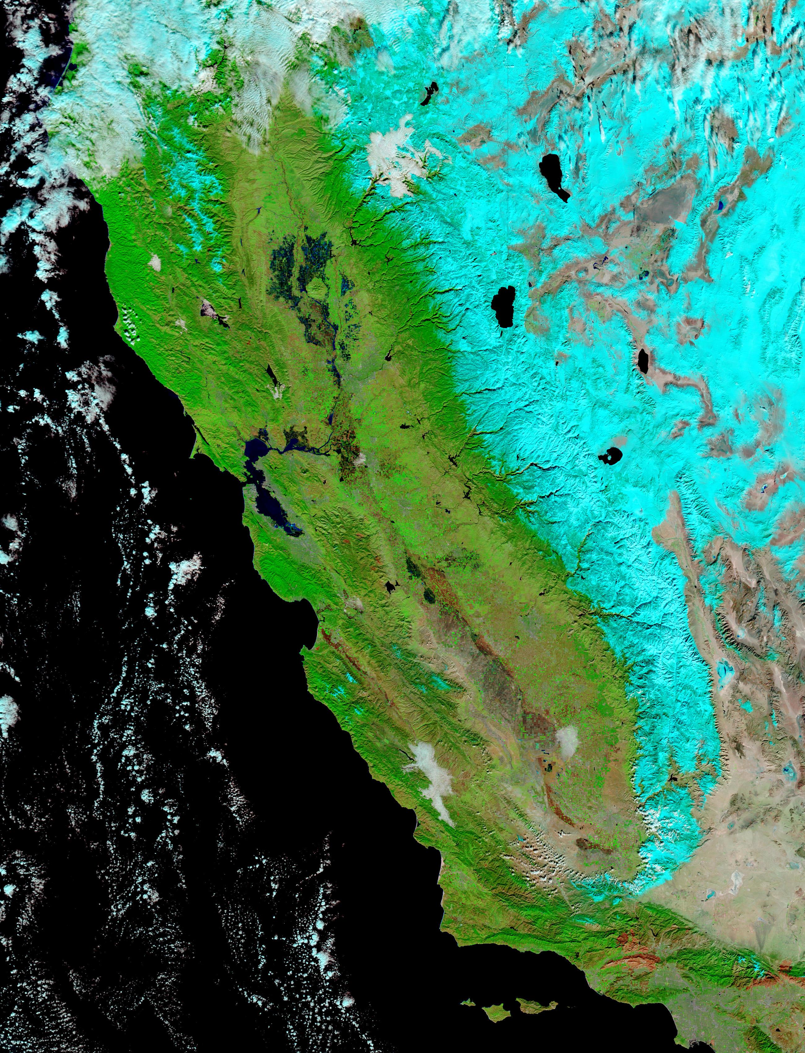Inundaciones en California (falso color)
