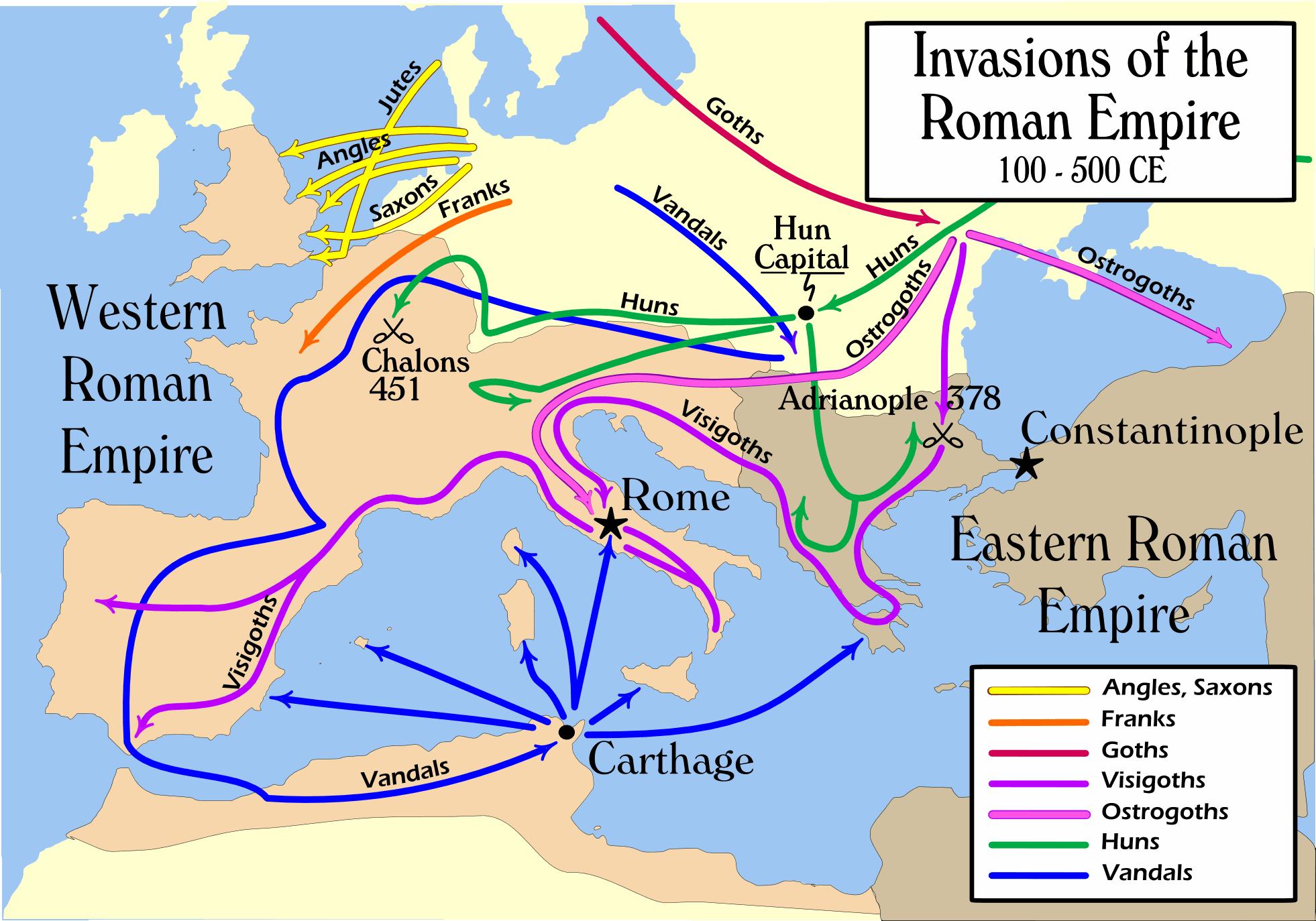 Invasiones bárbaras en el Imperio romano 100 a 500