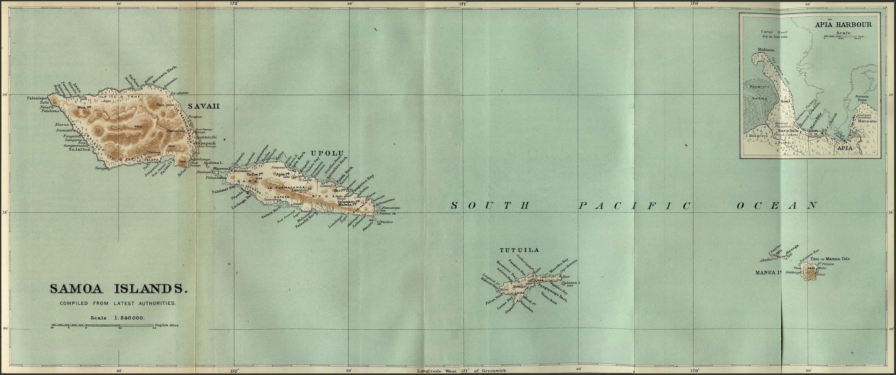 Islas Samoa Mapa 1889