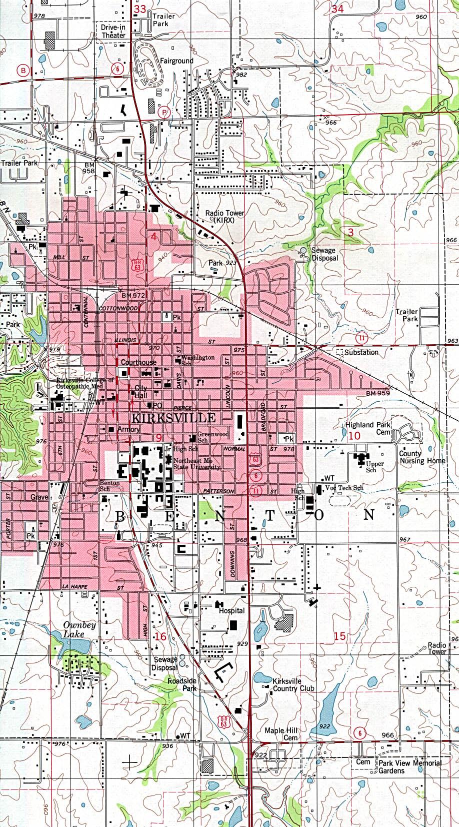 Kirksville Mapa Topográfico de la Ciudad de Kirksville, Missouri, Estados Unidos
