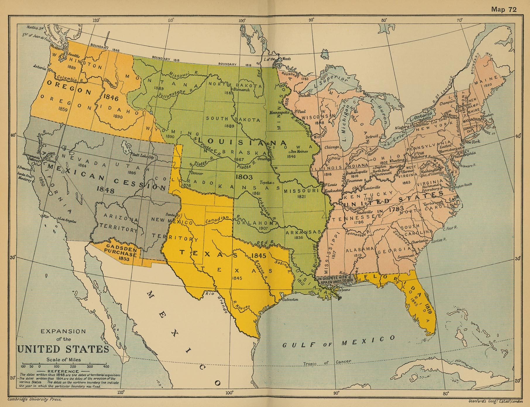 La expansión de los Estados Unidos 1848