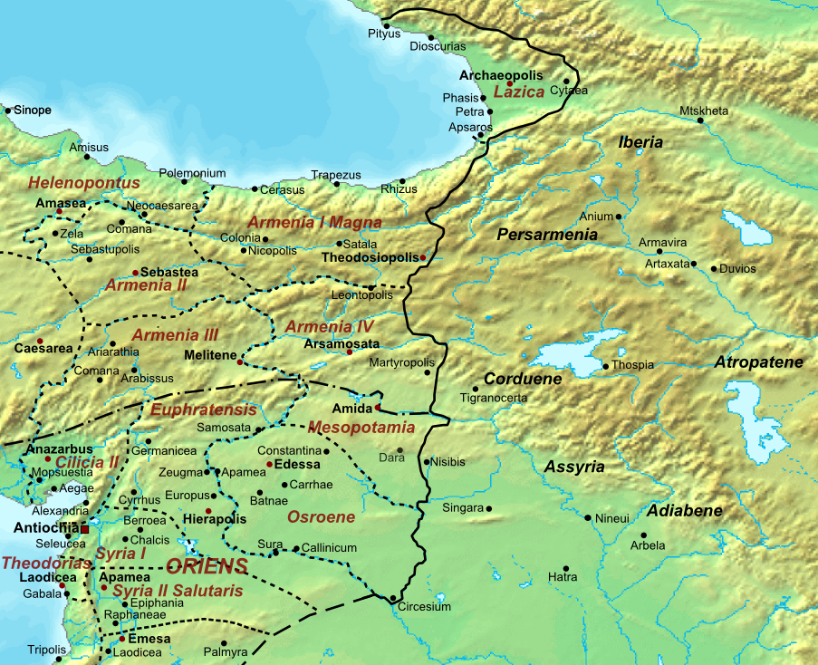 La frontera entre los imperios Sasánida y Romano 565