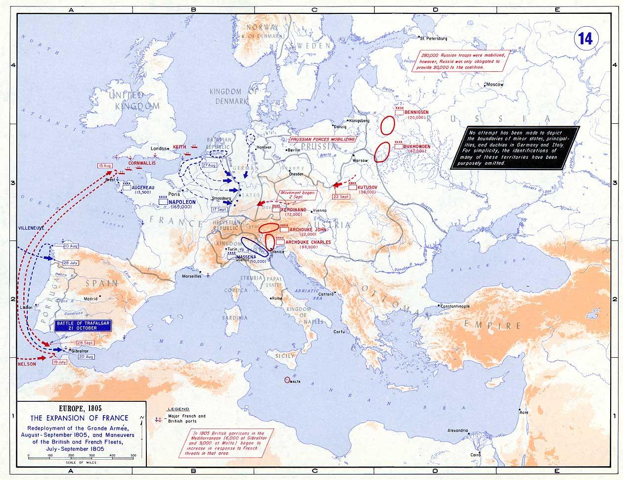 La situación estratégica de Europa en 1805