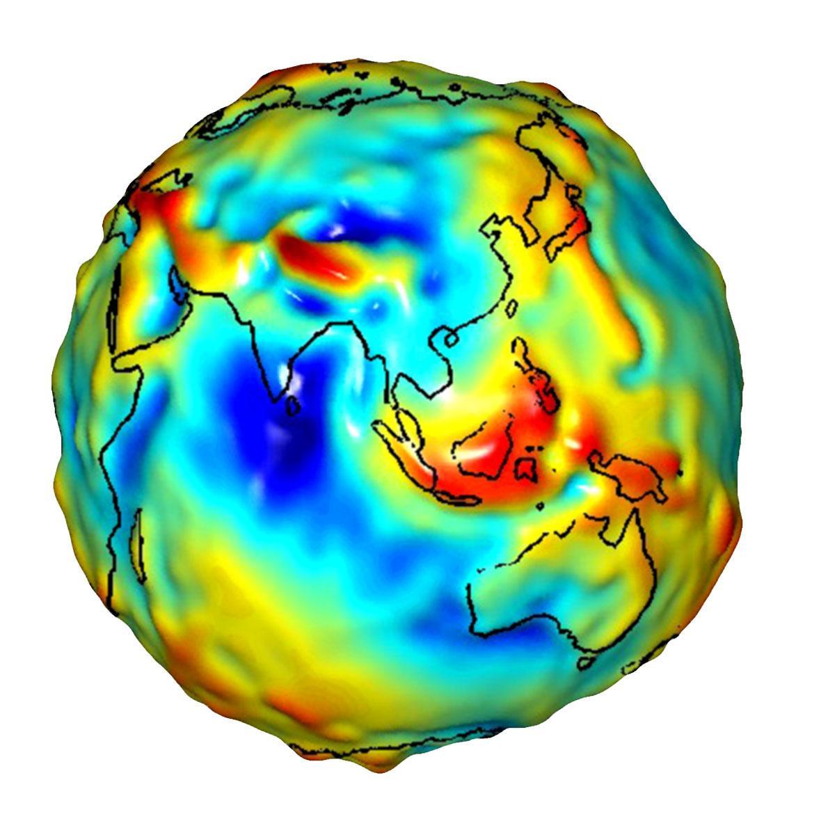 Las anomalías gravitatorias de Asia y Australia
