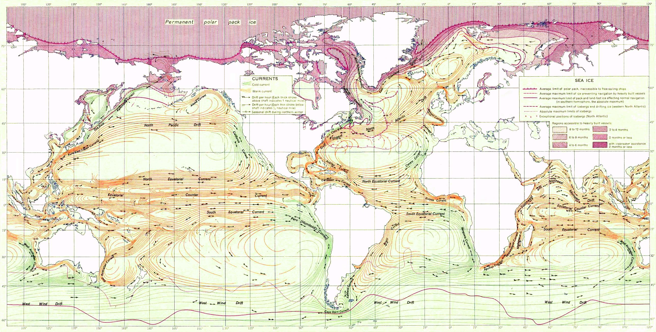 Las corrientes marinas y el hielo marino 1943