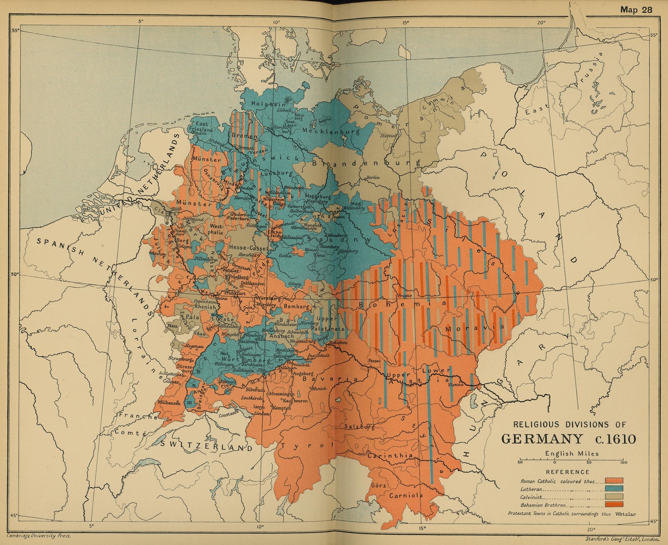 Las divisiones religiosas de Alemania c. 1610
