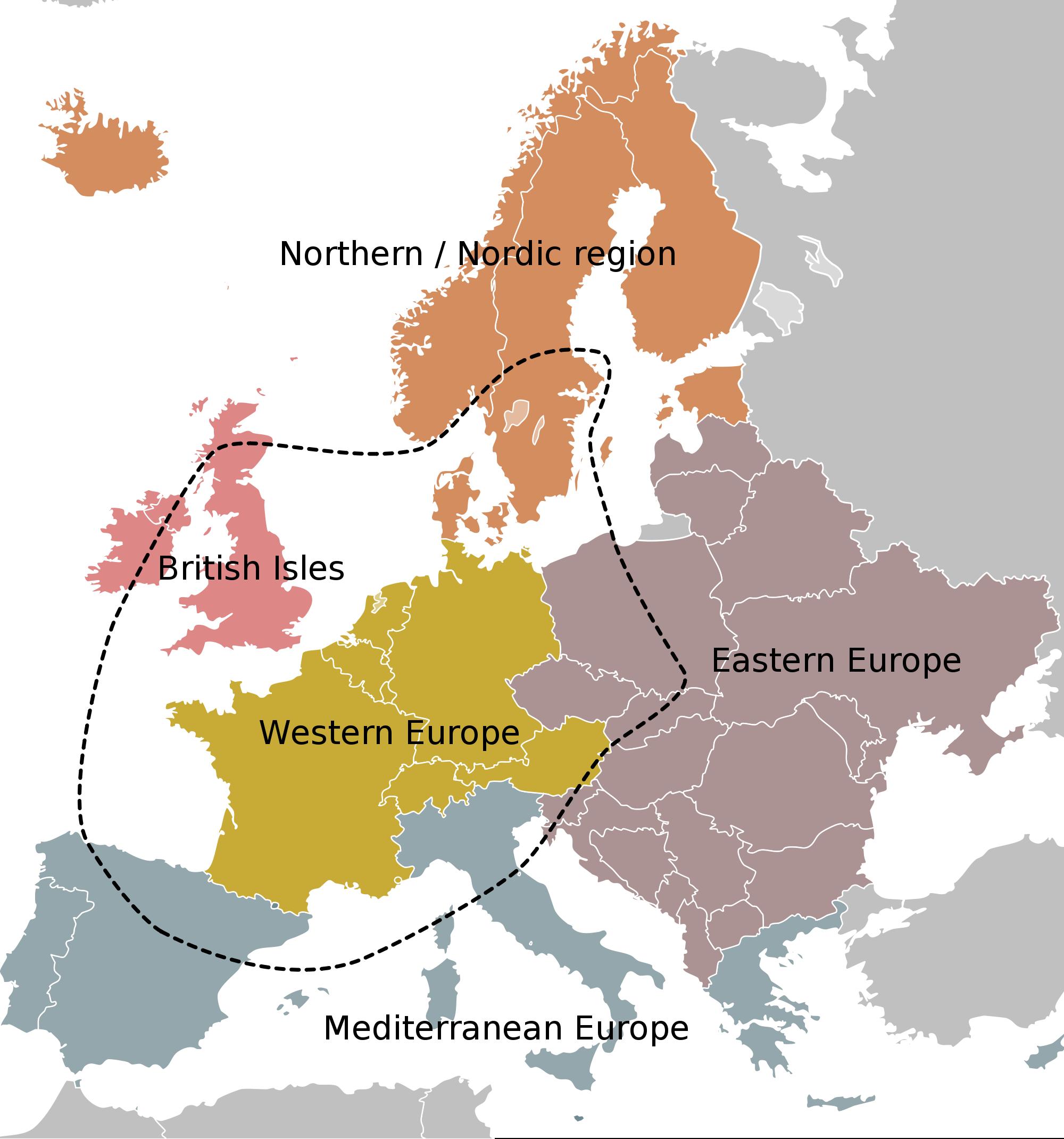 Las regiones de Europa
