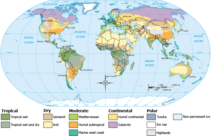 Climate zones of the world 2009