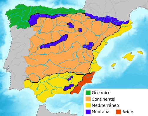 Las zonas de clima de España 2009