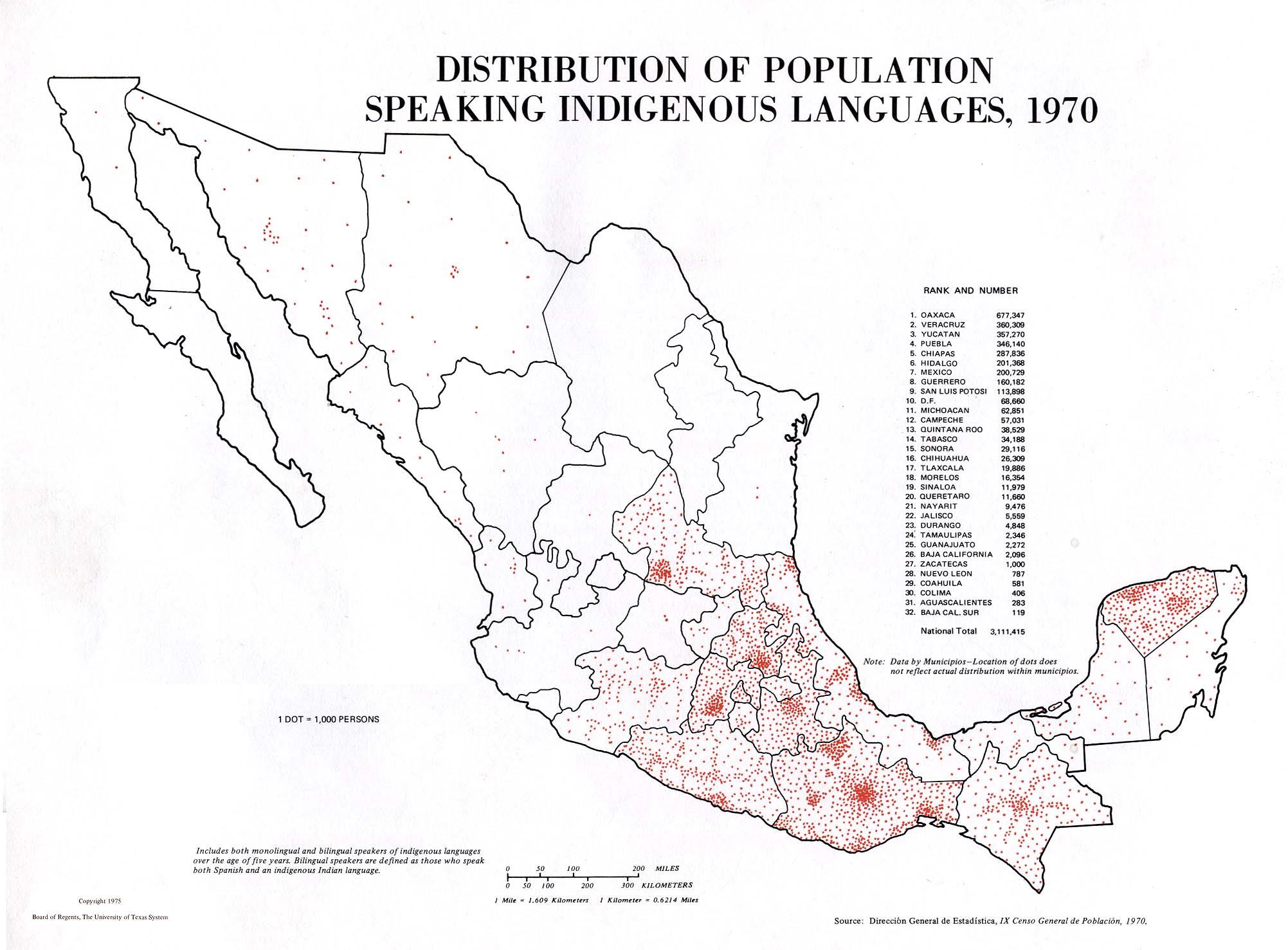 Lenguas Indígenas, México 1940, 1970