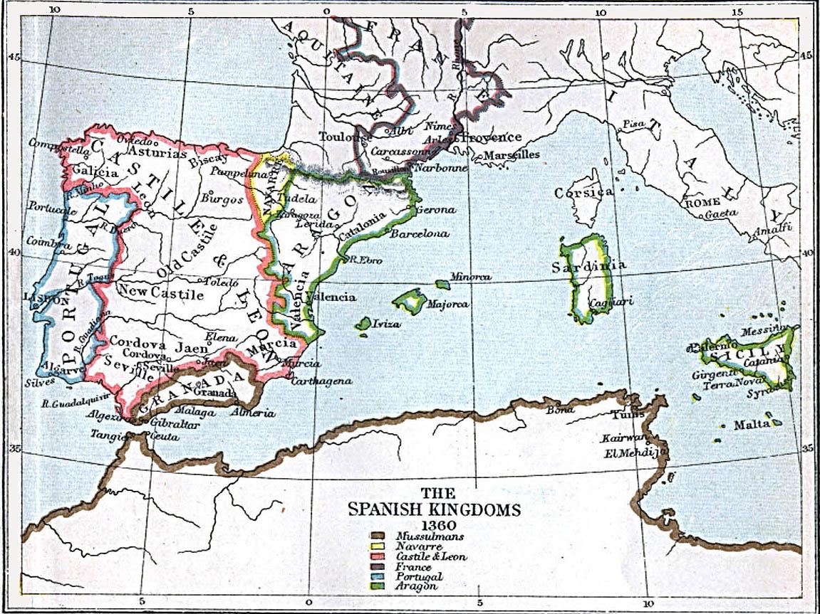 The Spanish Kingdoms 1360 A.D.
