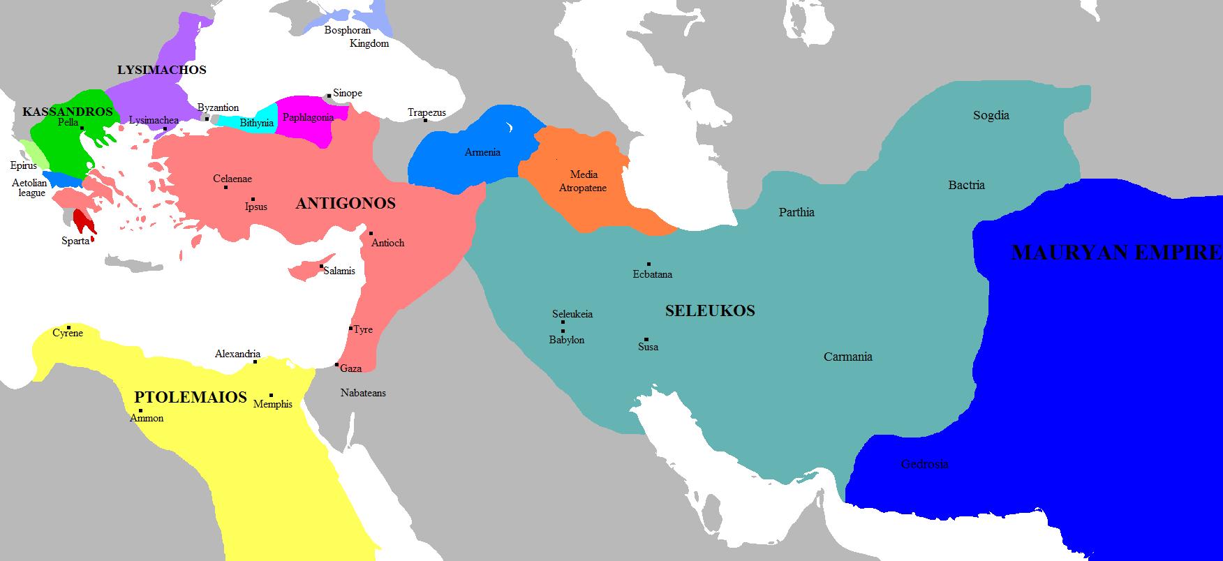 The Diadoch kingdoms circa 303 BC