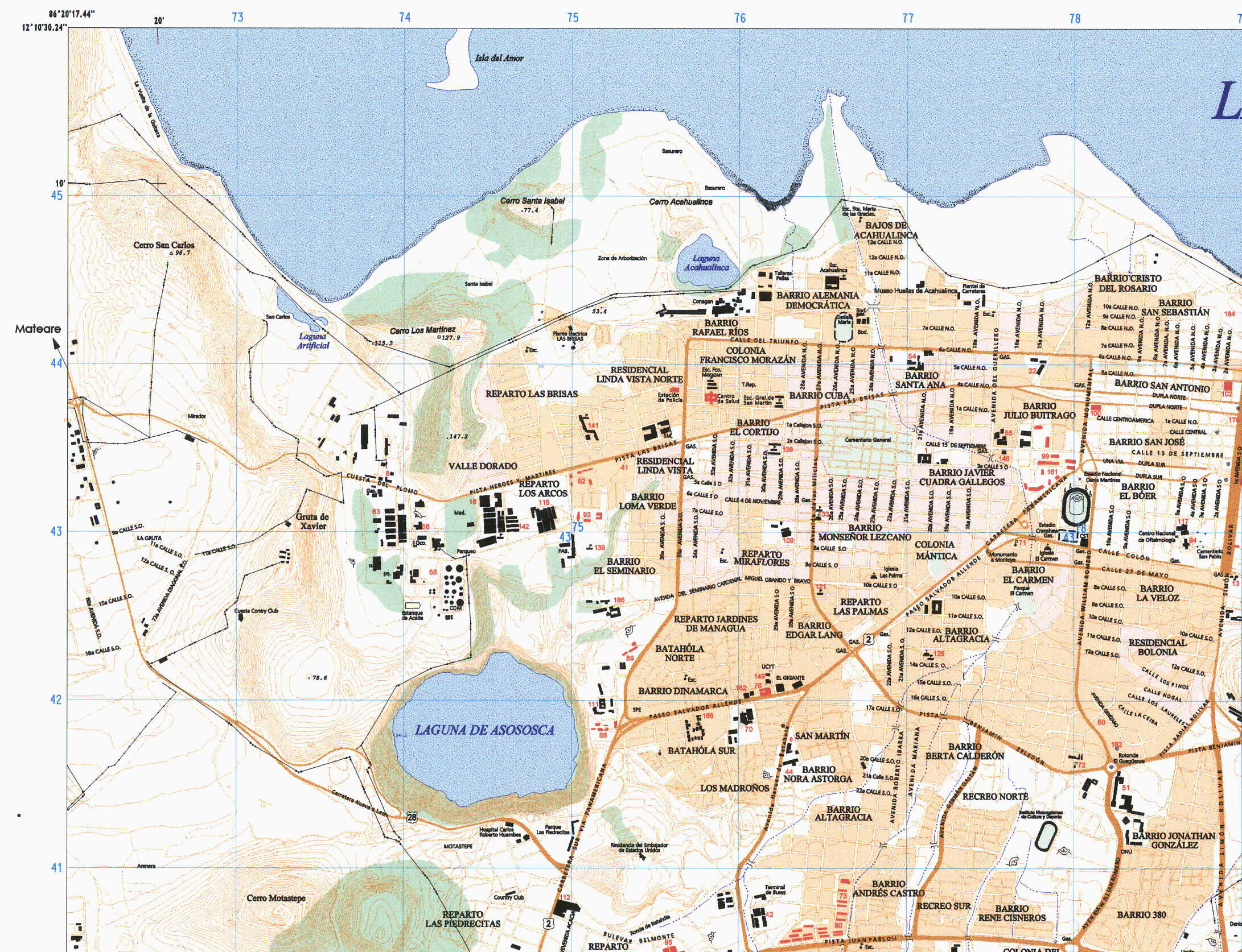 Managua Partial Map, Nicaragua 1