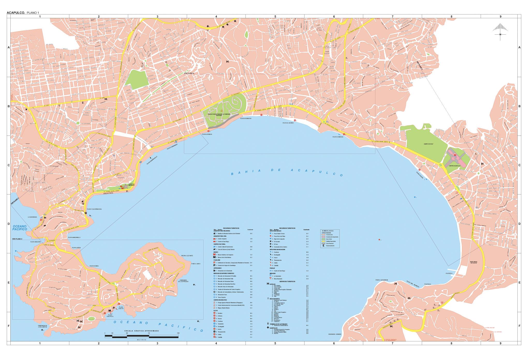Mapa Acapulco, Guerrero, Mexico