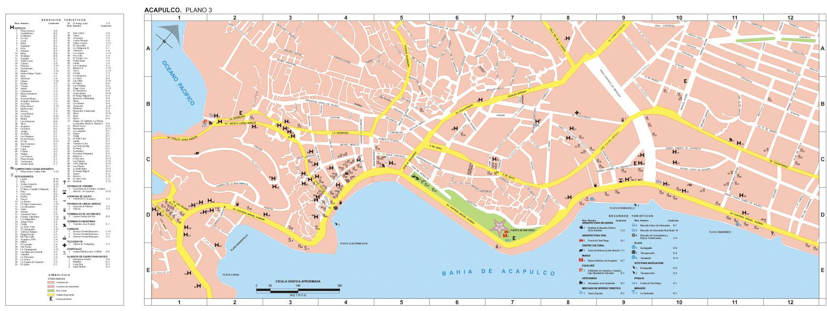 Acapulco Map, Guerrero, Mexico