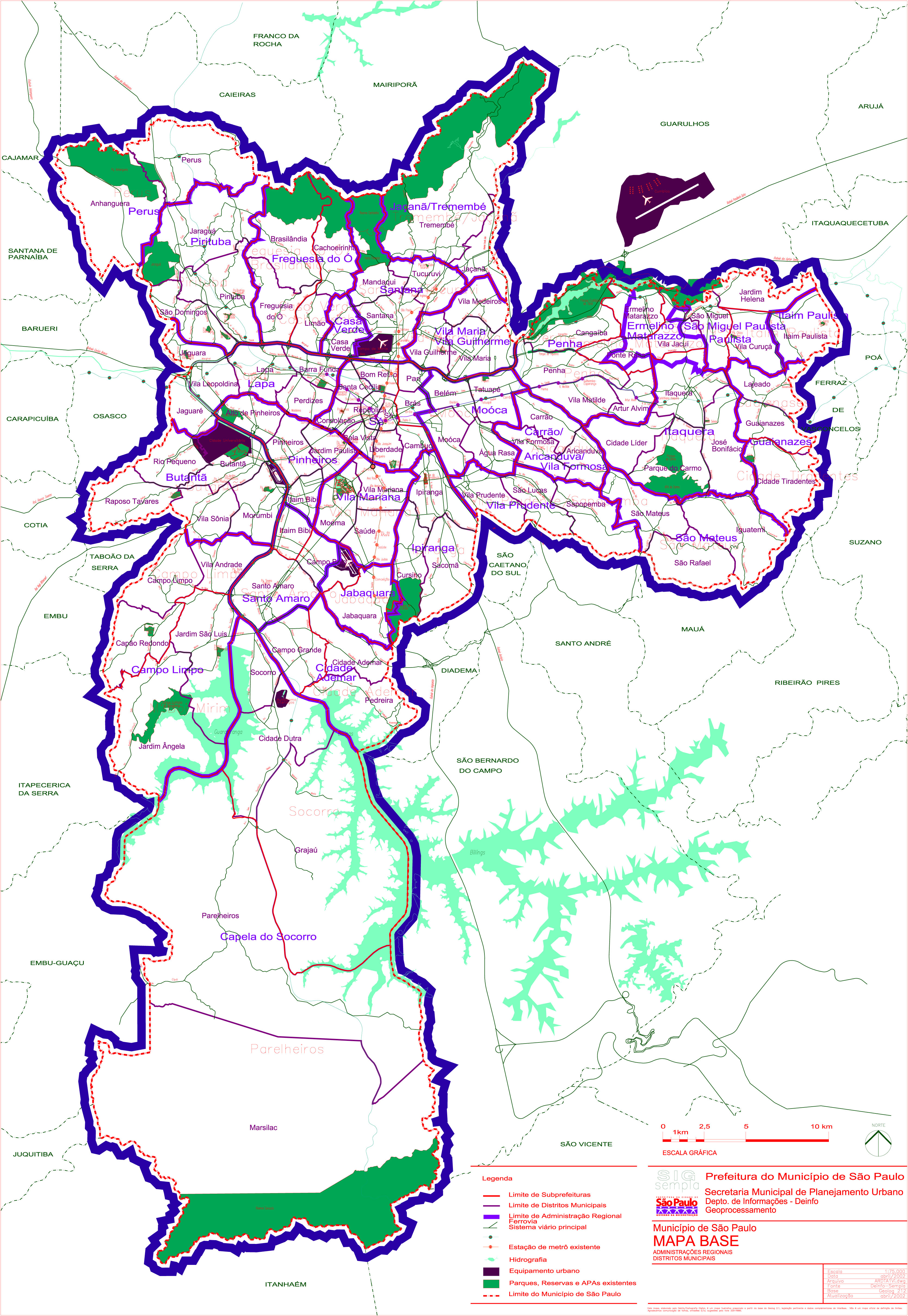 São Paulo City Base Map, Brazil