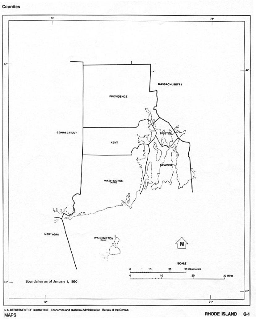 Maps of Rhode Island Black and White Outline Map, United ...