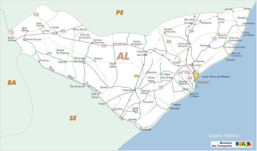 Alagoas State, Federal Highway Map, Brazil