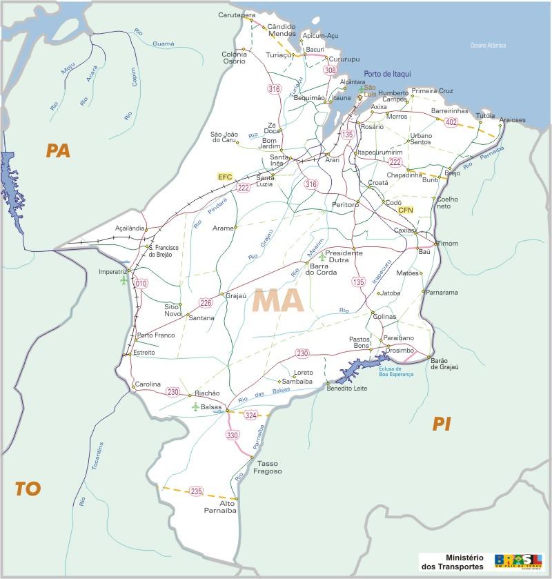 Mapa Carreteras Federales, Edo. de Maranhão, Brasil
