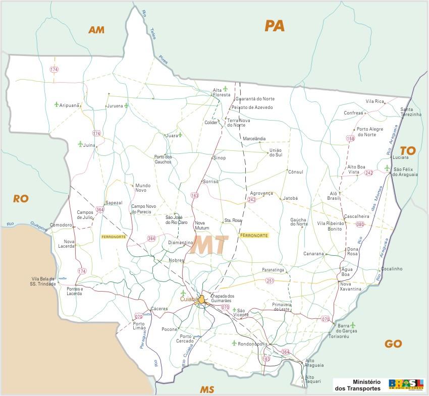 Mapa Carreteras Federales, Edo. de Mato Grosso, Brasil