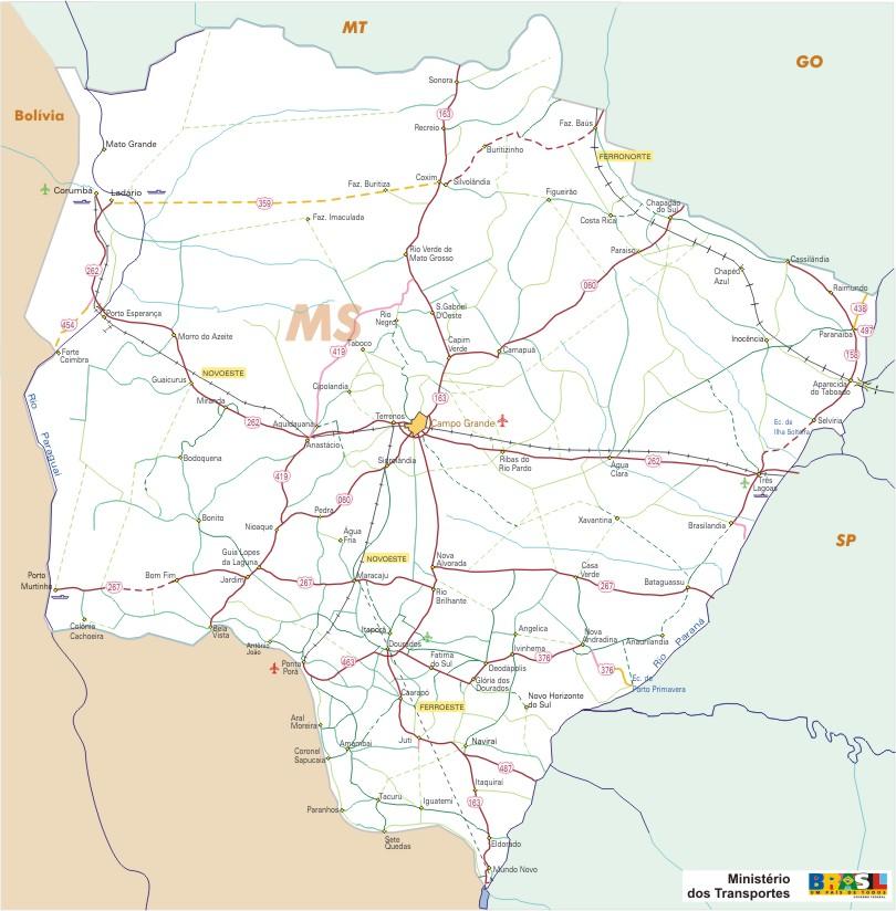 Mapa Carreteras Federales, Edo. de Mato Grosso do Sul, Brasil