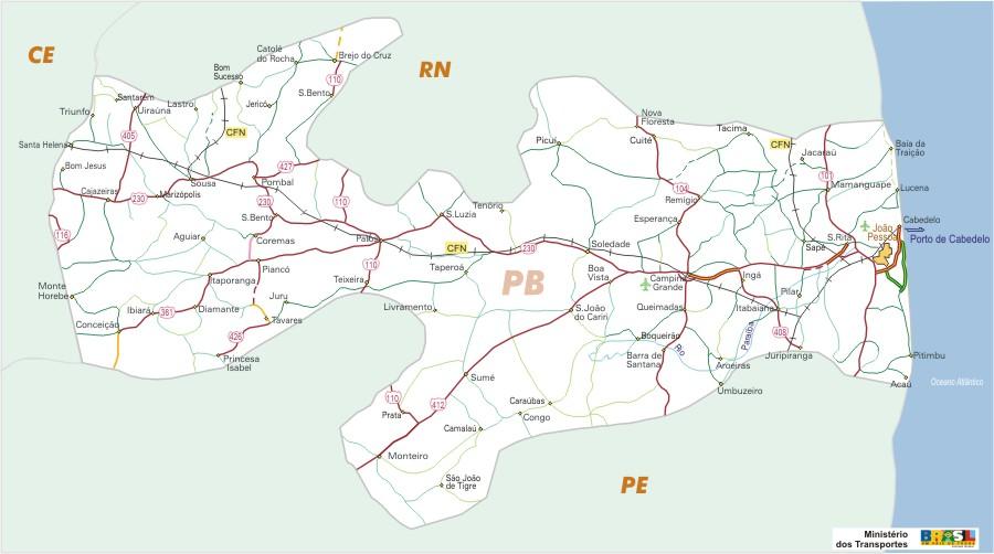 Mapa Carreteras Federales, Edo. de Paraíba State, Brasil