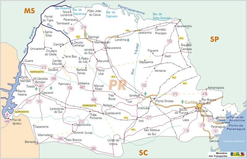 Mapa Carreteras Federales, Edo. de Paraná, Brasil