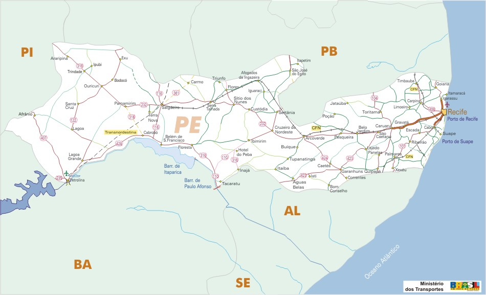 Mapa Carreteras Federales, Edo. de Pernambuco, Brasil