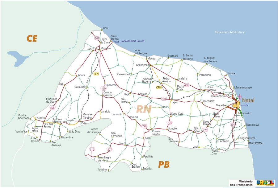 Rio Grande do Norte State, Federal Highway Map, Brazil