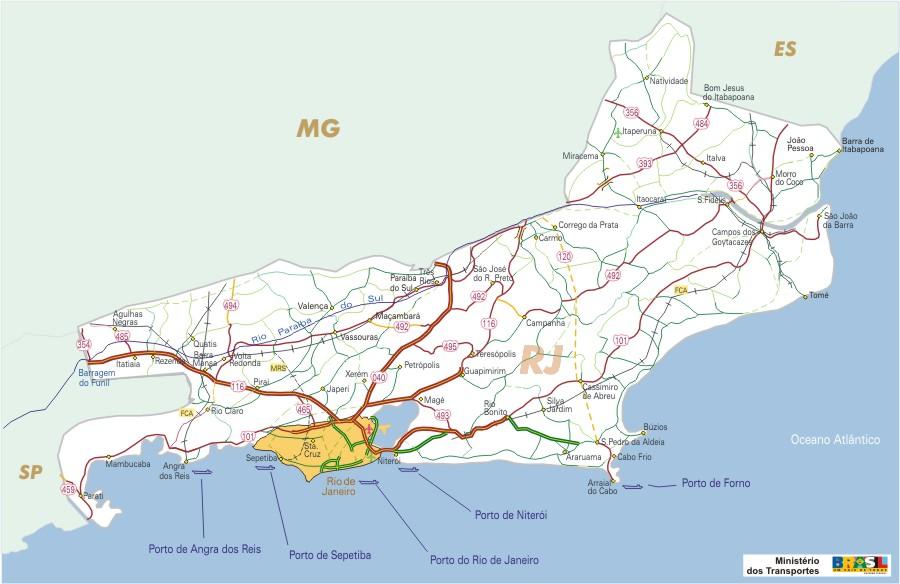 Rio de Janeiro State, Federal Highway Map, Brazil