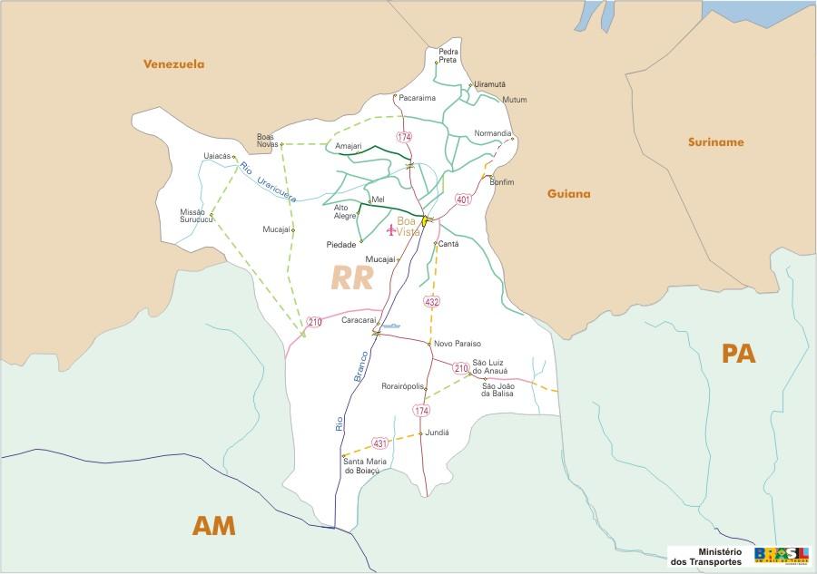 Mapa Carreteras Federales, Edo. de Roraima, Brasil