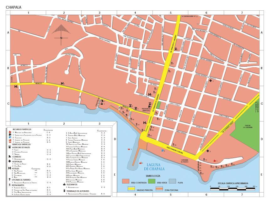 Chapala Map, Jalisco, Mexico