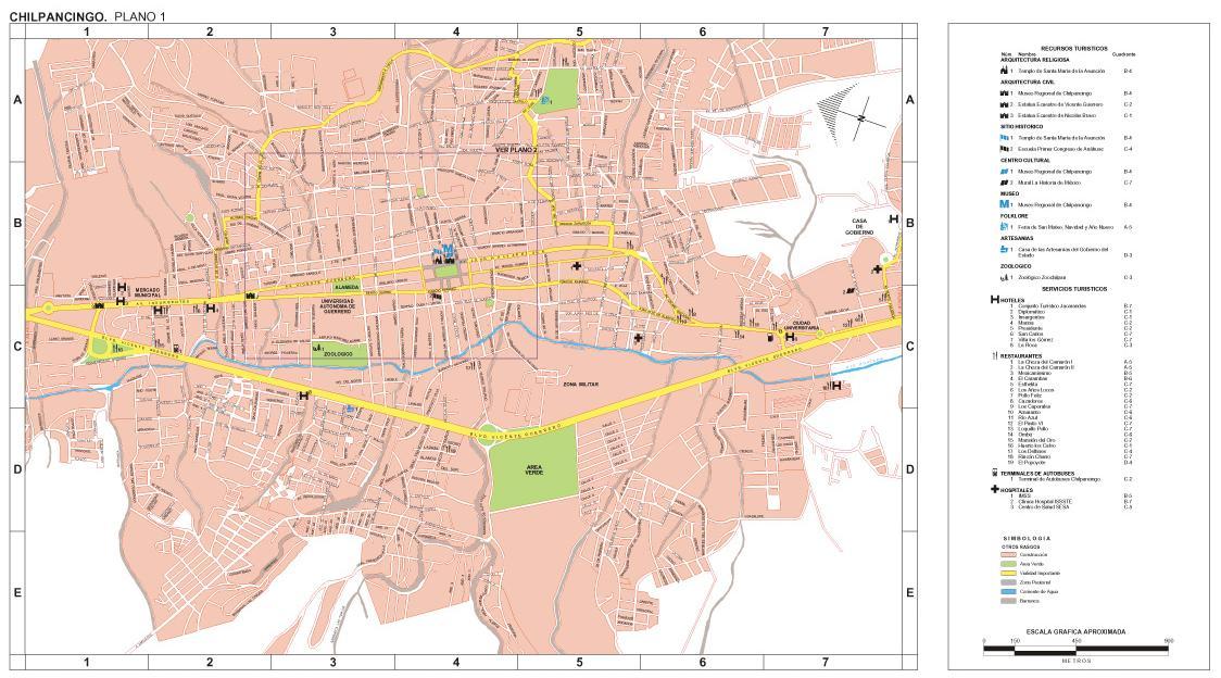 Chilpancingo Map, Guerrero, Mexico