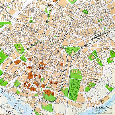 Mapa Ciudad Salamanca, Castilla y León, España
