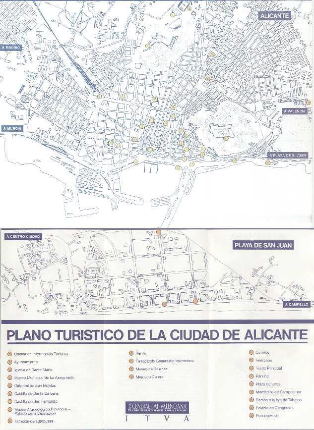 Mapa Ciudad de Alicante, España