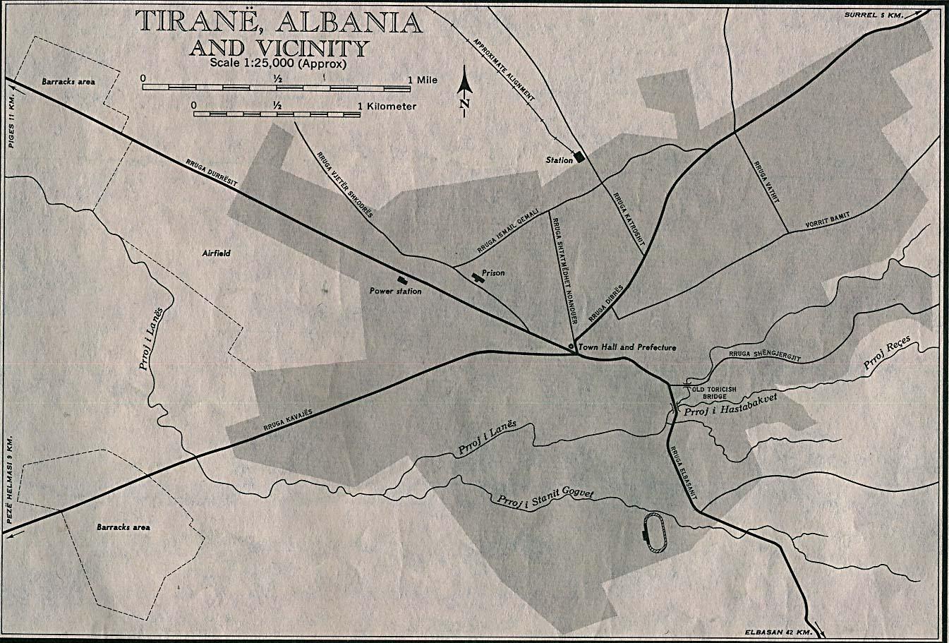 Mapa Croquis de Tirana, Albania