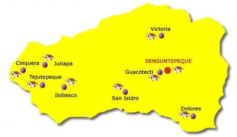 Mapa Departamento Cabañas, El Salvador