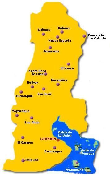 Mapa Departamento La Unión, El Salvador