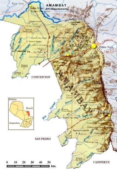 Mapa Departamento de Amambay, Paraguay