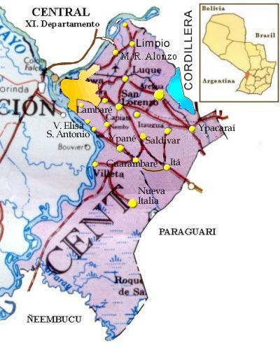Central Department Map, Paraguay