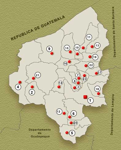 Copan Department Map, Honduras