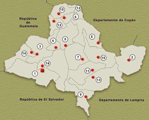 Mapa Departamento de Ocotepeque, Honduras