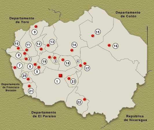 Mapa Departamento de Olancho, Honduras