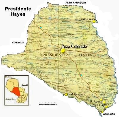 Mapa Departamento de Presidente Hayes, Paraguay