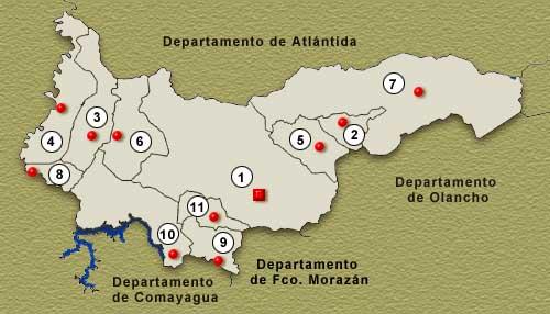 Mapa Departamento de Yoro, Honduras